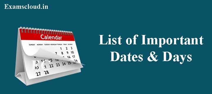 List of Important National and International Days & Dates
