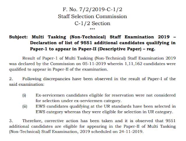 SSC MTS Revised Result