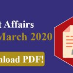 Current Affairs March 2020