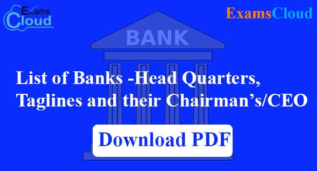 List of Banks and Headquarters of India