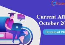 Current Affairs October 2020