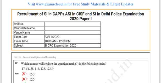 SSC CPO Question Papers 2020