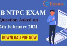 RRB NTPC 12th February Asked Question