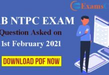 RRB NTPC 1st February Asked Question