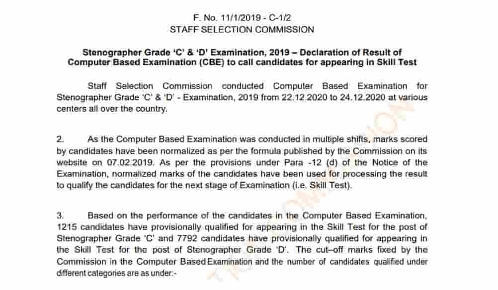 SSC Stenographer Result 2019-20